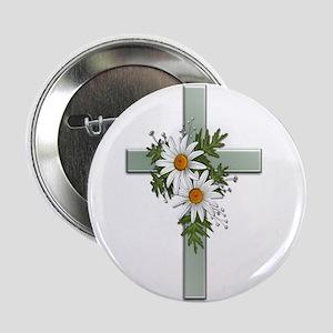 Green Cross w/Daisies 2 Button