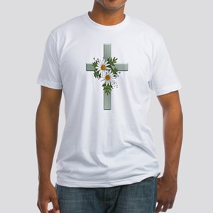 Green Cross w/Daisies 2 Fitted T-Shirt