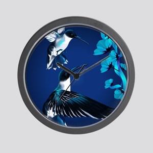 two blue Hummingbirds PosterP Wall Clock