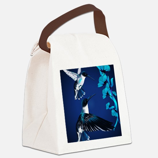 two blue Hummingbirds PosterP Canvas Lunch Bag