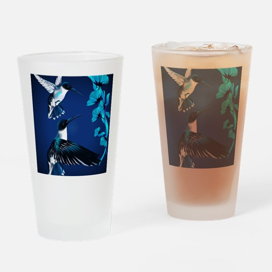 two blue Hummingbirds PosterP Drinking Glass