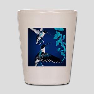 two blue Hummingbirds PosterP Shot Glass