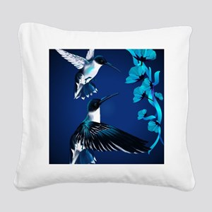 two blue Hummingbirds PosterP Square Canvas Pillow