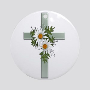Green Cross w/Daisies 2 Ornament (Round)