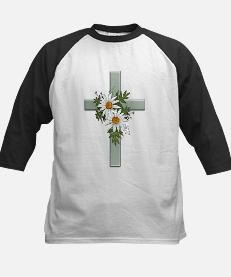 Green Cross w/Daisies 2 Kids Baseball Jersey
