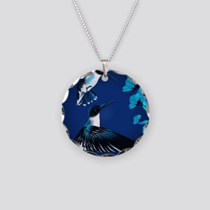 two blue Hummingbirds Poster Necklace Circle Charm