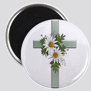 Green Cross w/Daisies 2 Magnet