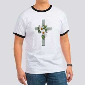 Green Cross w/Daisies 2 Ringer T