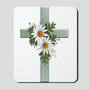 Green Cross w/Daisies 2 Mousepad