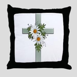 Green Cross w/Daisies 2 Throw Pillow