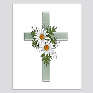 Green Cross w/Daisies 2 Small Poster