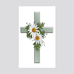 Green Cross w/Daisies 2 Rectangle Sticker