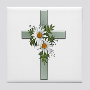 Green Cross w/Daisies 2 Tile Coaster
