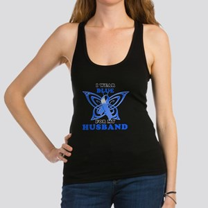I Wear Blue for my Husband Racerback Tank Top