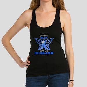 I Wear Blue for my Husband Racerback Tank Top
