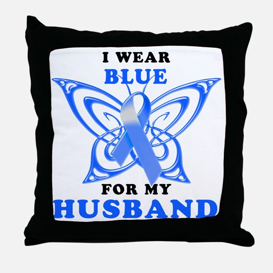I Wear Blue for my Husband Throw Pillow
