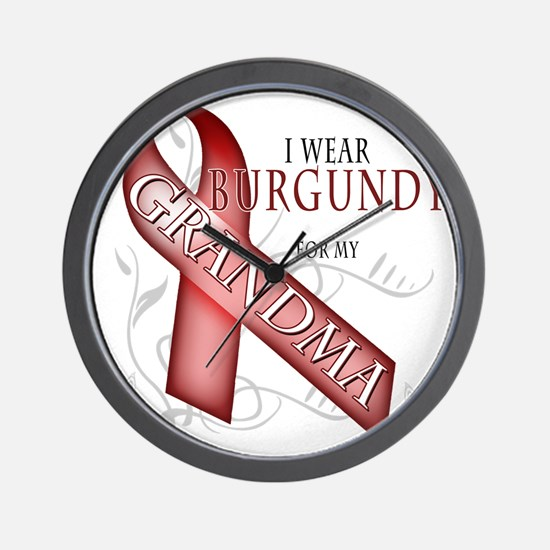 I Wear Burgundy for my Grandma Wall Clock