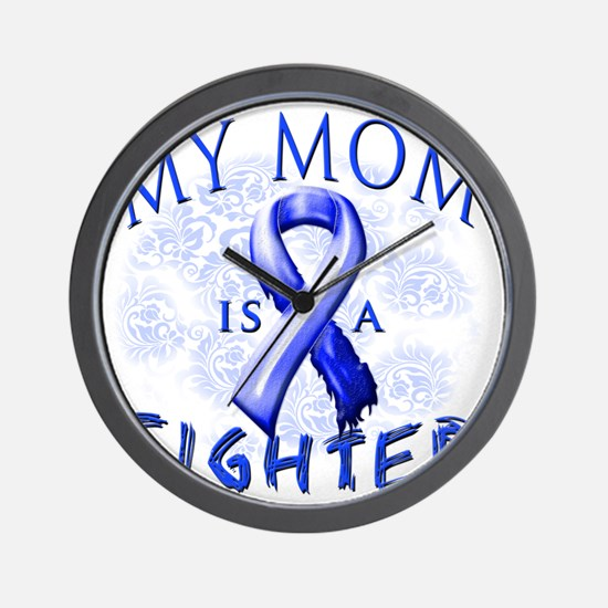 My Mom Is A Fighter Blue Wall Clock