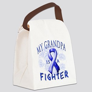My Grandpa Is A Fighter Blue Canvas Lunch Bag