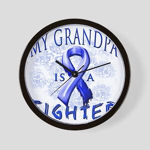 My Grandpa Is A Fighter Blue Wall Clock
