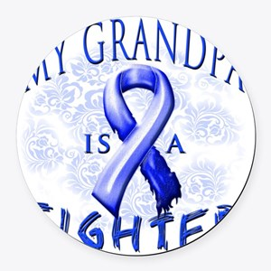 My Grandpa Is A Fighter Blue Round Car Magnet