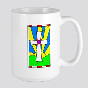 Stained Glass Cross Large Mug