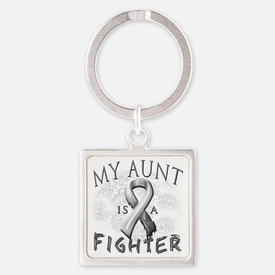 My Aunt Is A Fighter Grey Square Keychain