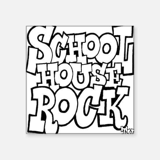"3-schoolhouserock_BW Square Sticker 3"" x 3"""