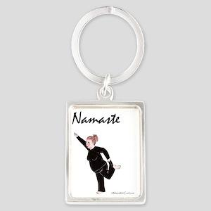 Namaste White Copyright Portrait Keychain
