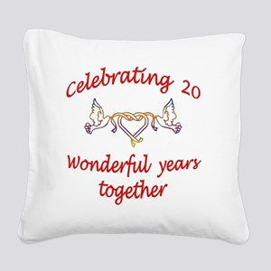 celebrating 20 years  Square Canvas Pillow