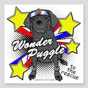 "Wonder Puggle Square Car Magnet 3"" x 3"""