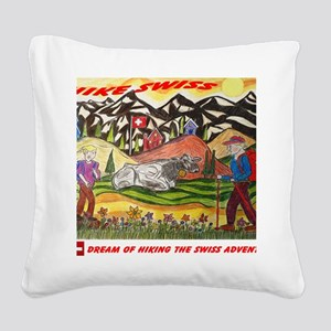 hike swiss small poster Square Canvas Pillow