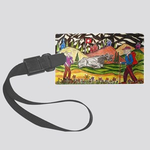hike swiss small poster Large Luggage Tag