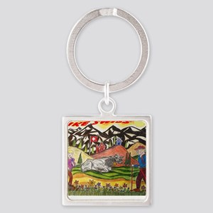 hike swiss small poster Square Keychain