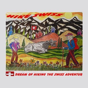hike swiss small poster Throw Blanket