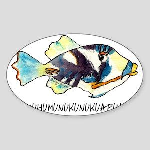 050HumuNukuNameFish-R Sticker (Oval)