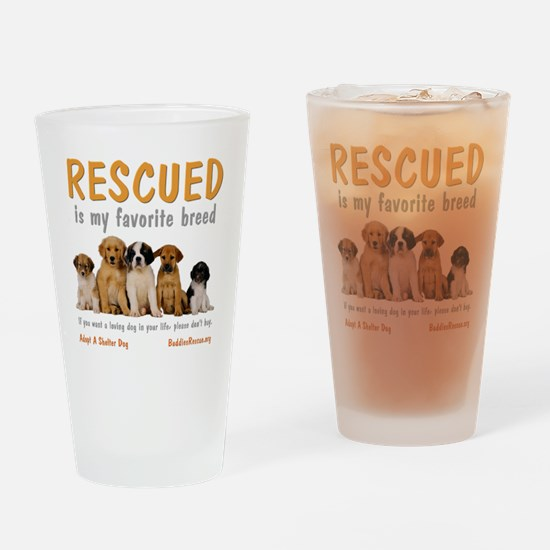 rescued_is_my_favorite_breed_4-tran Drinking Glass