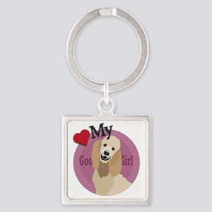 love my girl standard poodle Square Keychain