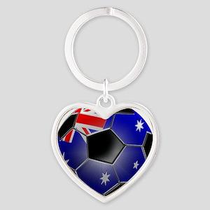 aussiesoccerball Heart Keychain