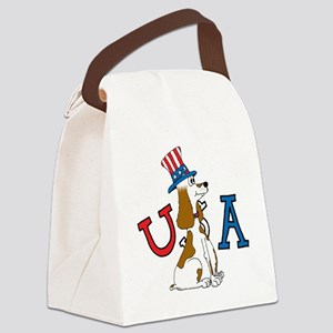 Patriotic Pup USA Section Canvas Lunch Bag