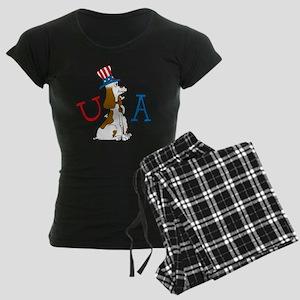 Patriotic Pup USA Section Women's Dark Pajamas