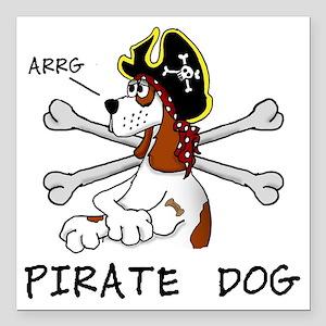 "pirate dog Square Car Magnet 3"" x 3"""