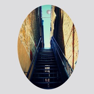 stairs sat cropped Oval Ornament