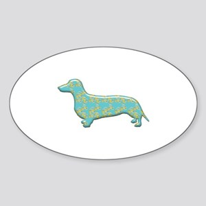 Paisley Dachshund Oval Sticker