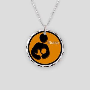 i_Nurse_Orange Necklace Circle Charm