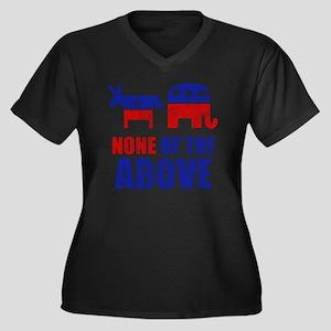 NONEOFTHEABO Women's Plus Size Dark V-Neck T-Shirt