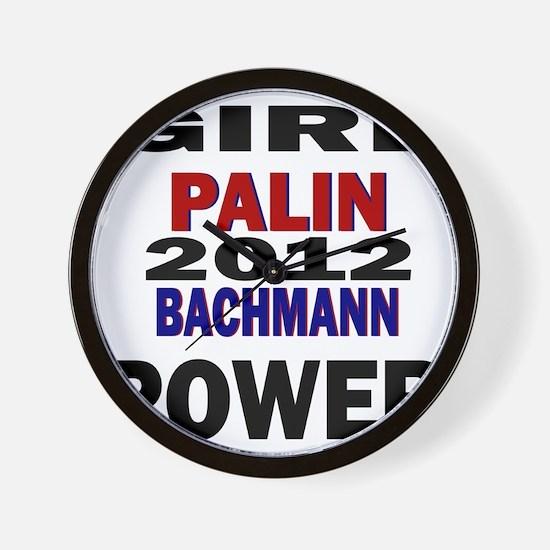palin_bachmann_girlpower Wall Clock