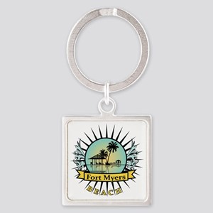 Fort-Myers-Beach-Hut Square Keychain