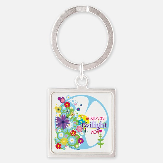 worlds best twilight mom aqua Square Keychain