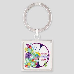 worlds best twilight mom purple Square Keychain